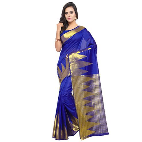 Outstanding Royal Blue Colored Festive Wear Woven Banarasi Art Silk Saree