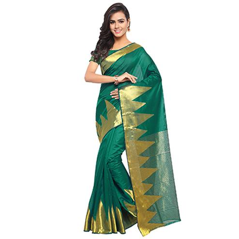 Fashionable Green Colored Festive Wear Woven Banarasi Art Silk Saree