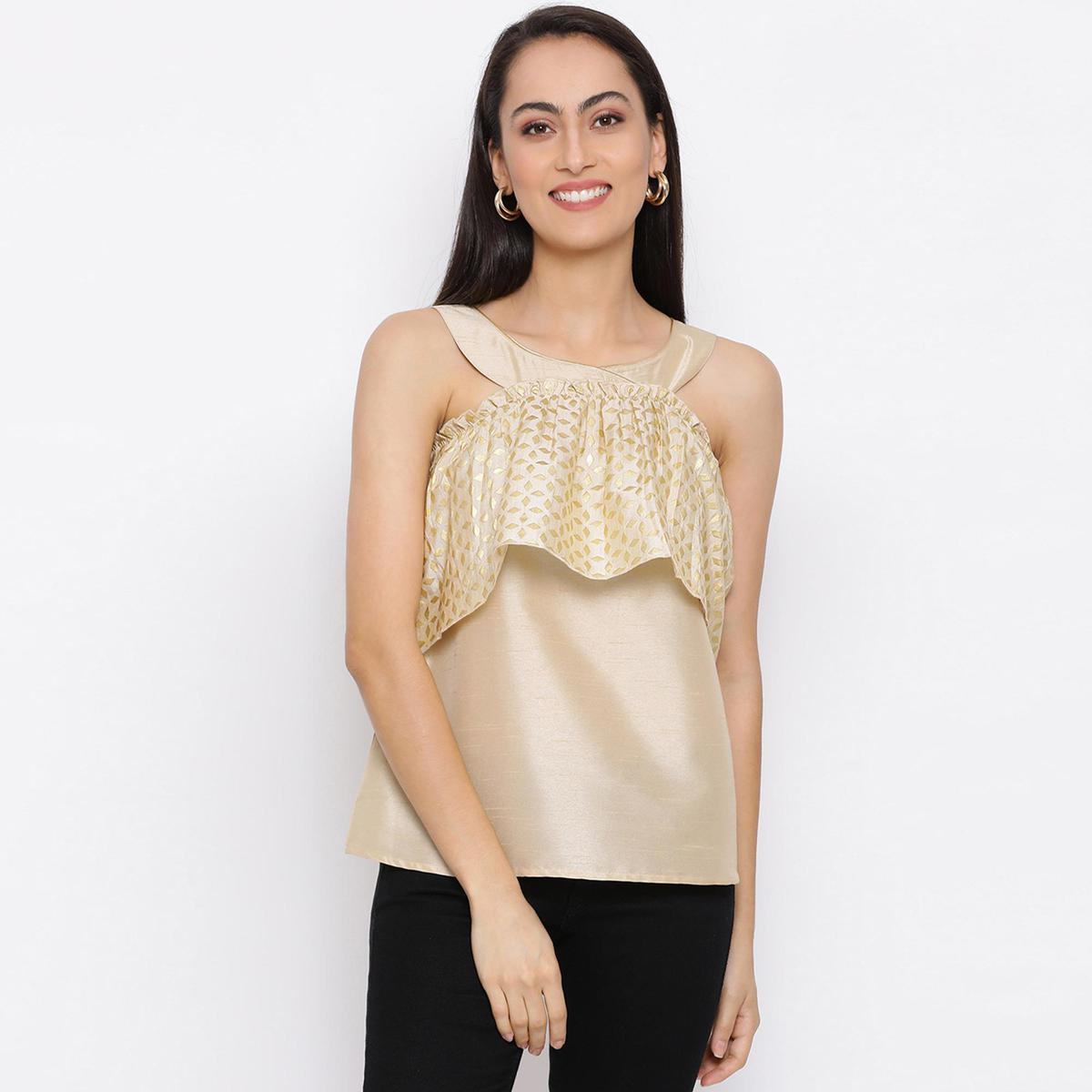 DRAAX FASHIONS - Women Golden Embellished Solid Top