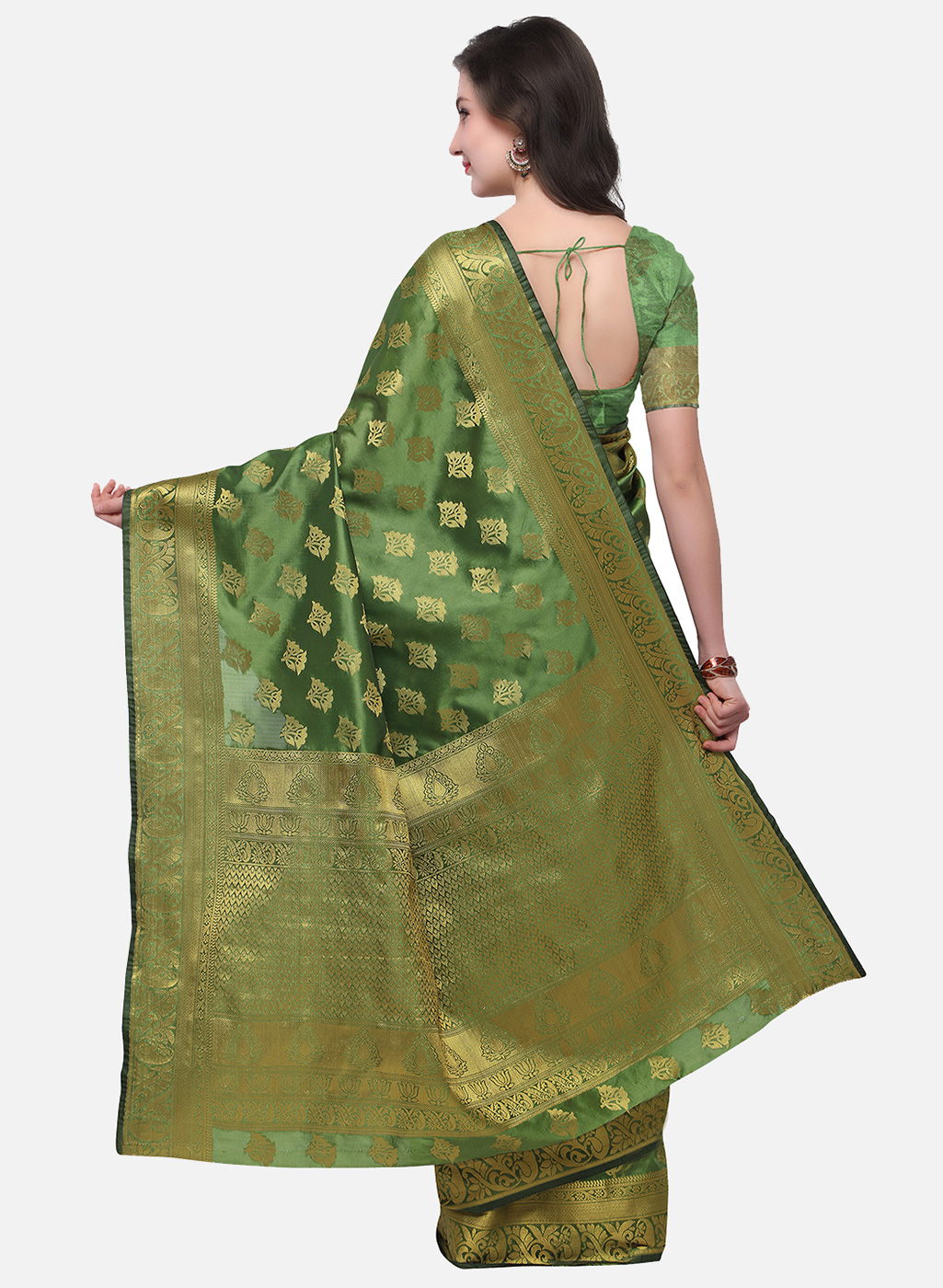 Dazzling Mehndi Green Colored Festive Wear Woven Banarasi Art Silk Saree
