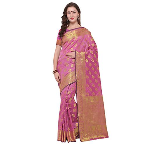 Elite Pink Colored Festive Wear Woven Banarasi Art Silk Saree