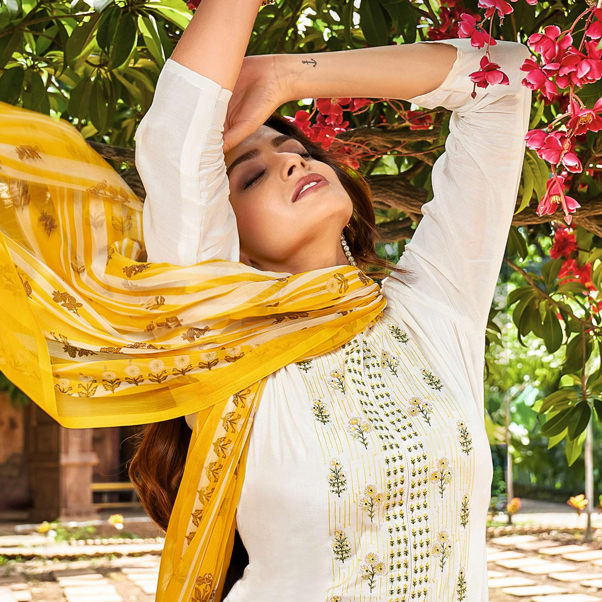 Offwhite Casual Wear Embroidered Chanderi Cotton Dress Material