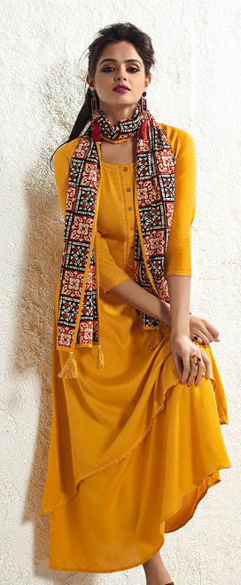 Designer Yellow Fancy Plain Rayon Kurti With Muslin Dupatta