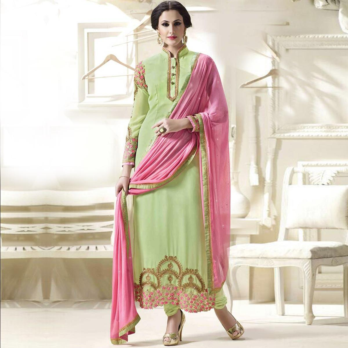 Light Green Festive Wear Embroidered Suit
