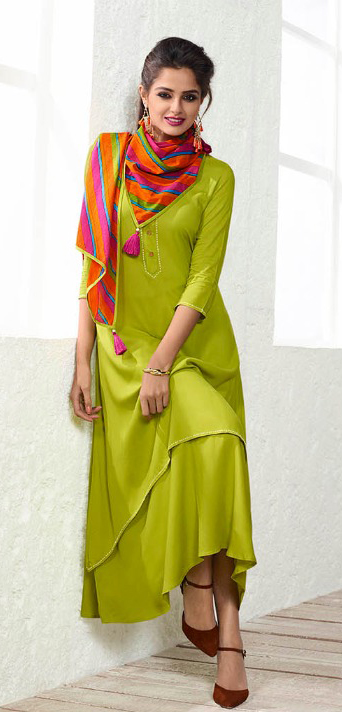 Designer Light Green Fancy Plain Rayon Kurti muslin Dupatta