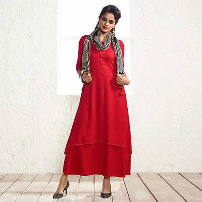Designer Red Fancy Plain Rayon Kurti With Muslin Dupatta