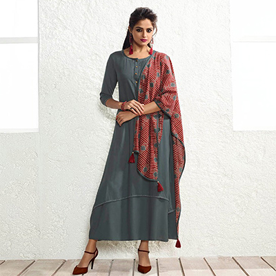 Designer Grey Fancy Plain Rayon Kurti With Muslin Dupatta