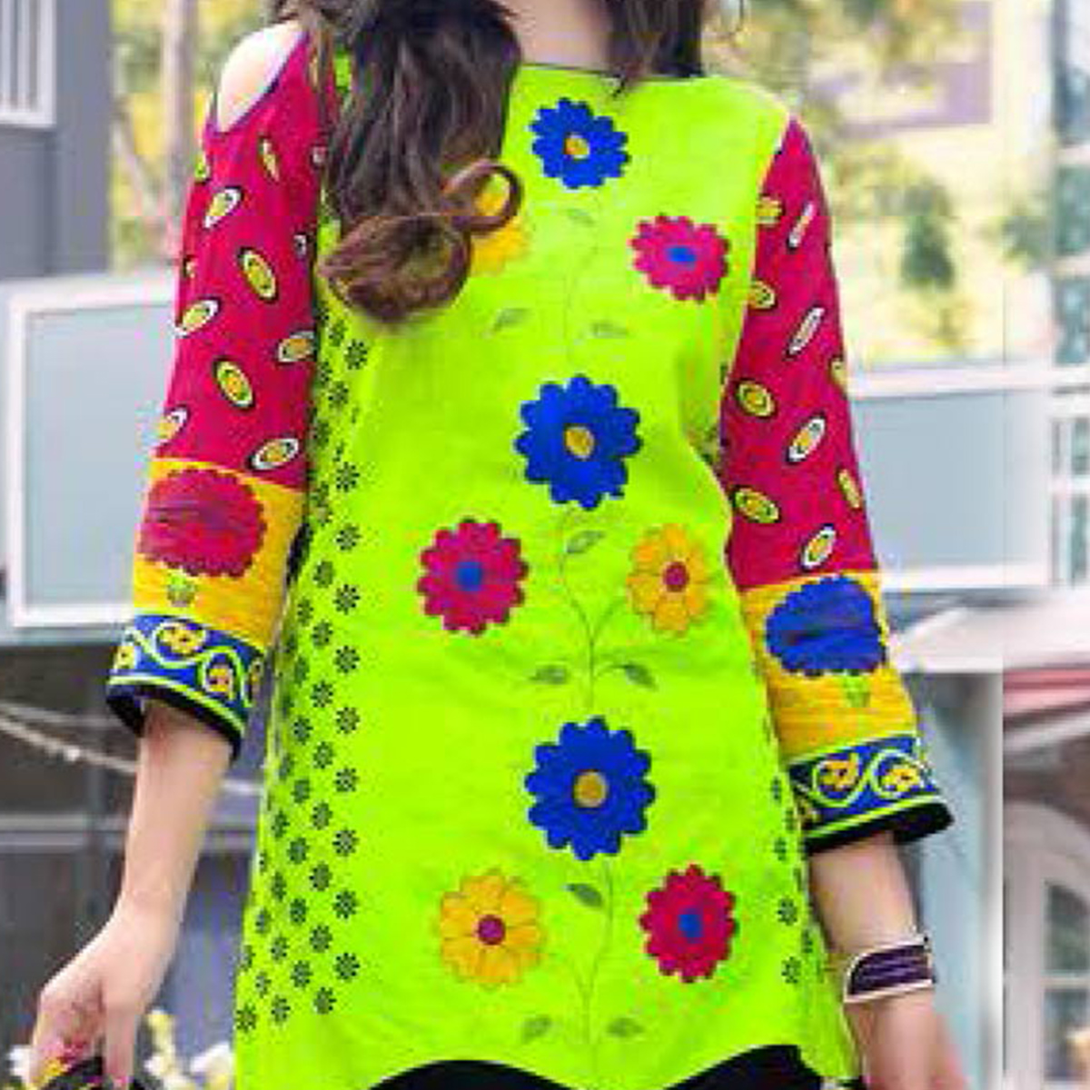 Light Green-Blue Colored Casual Wear Printed Cotton Dress Material