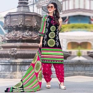 Black-Pink Colored Casual Wear Printed Cotton Dress Material