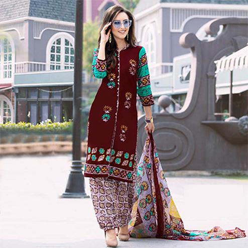 Brown Colored Casual Wear Printed Cotton Dress Material