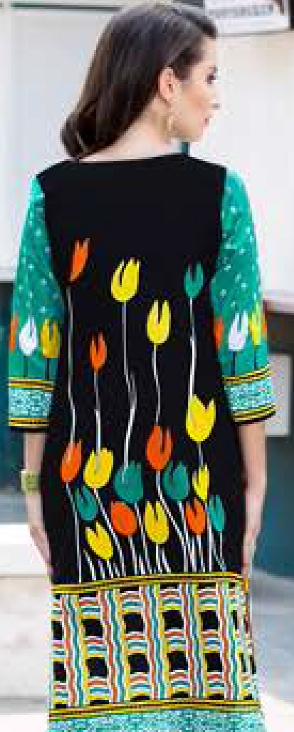 Orange-Black Colored Casual Wear Printed Cotton Dress Material