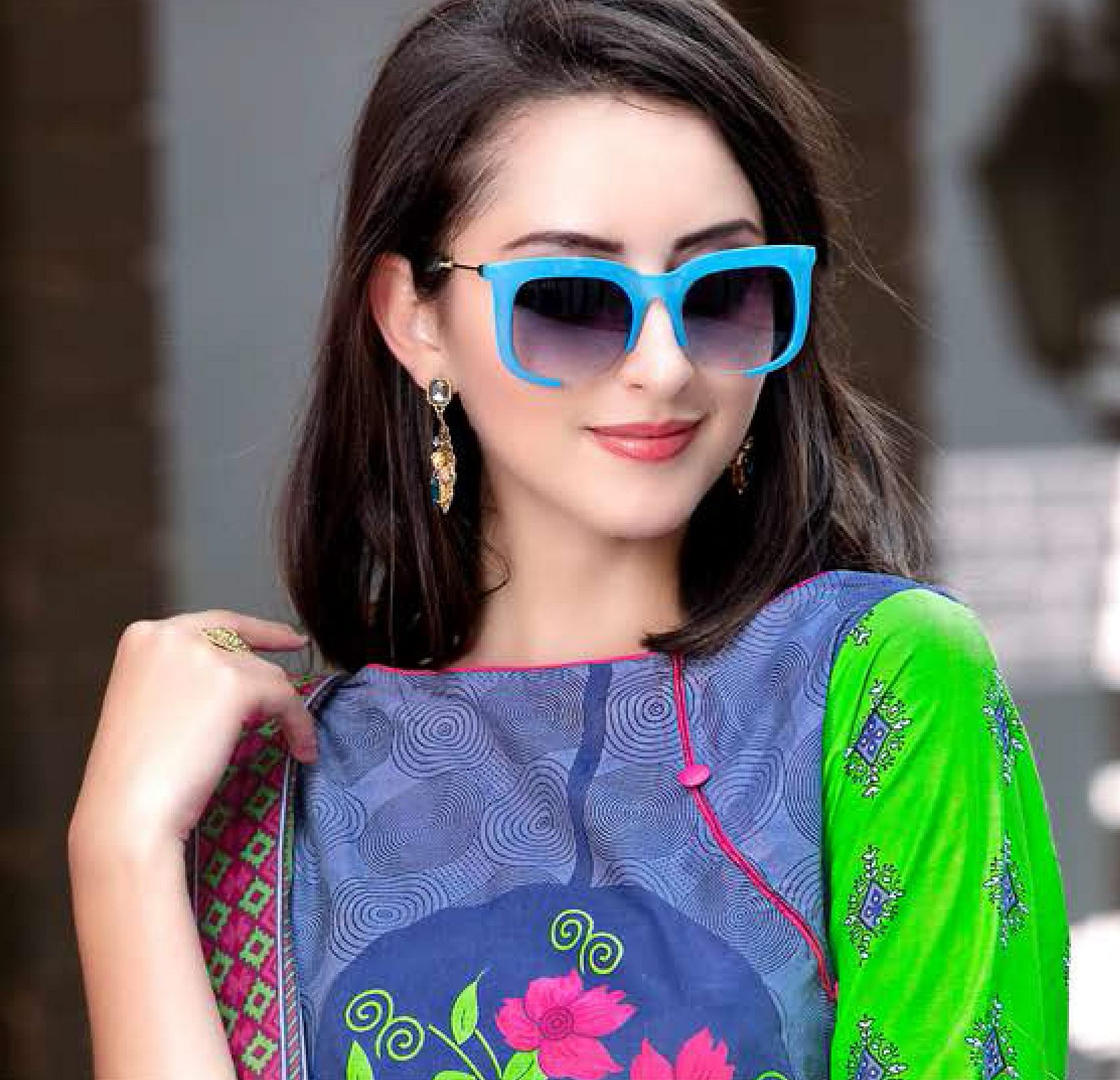 Blue-Pink Colored Casual Wear Printed Cotton Dress Material