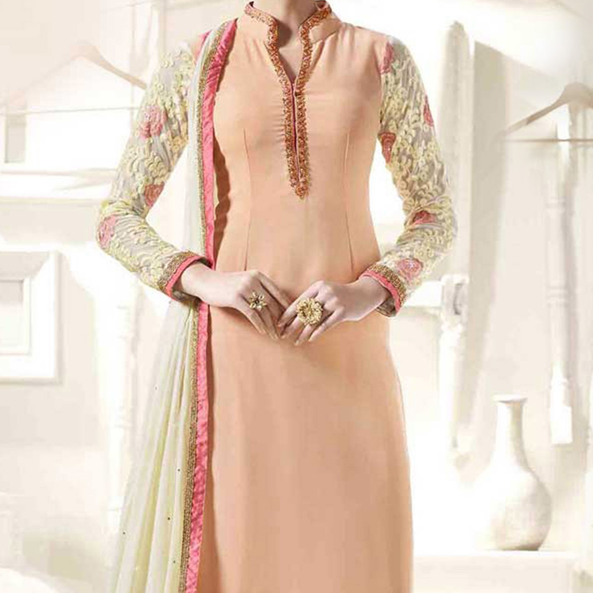 Peach Embroidery & Stone Work Suit