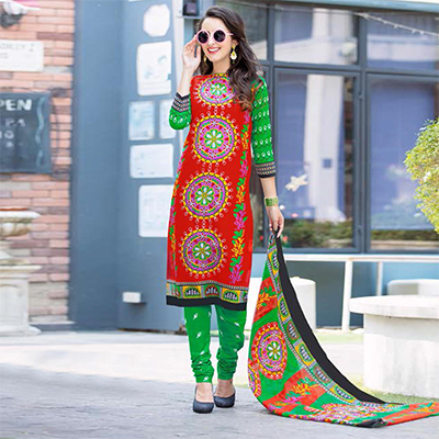 Red-Green Colored Casual Wear Printed Cotton Dress Material