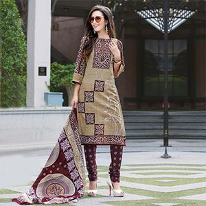 Beige-Brown Colored Casual Wear Printed Cotton Dress Material