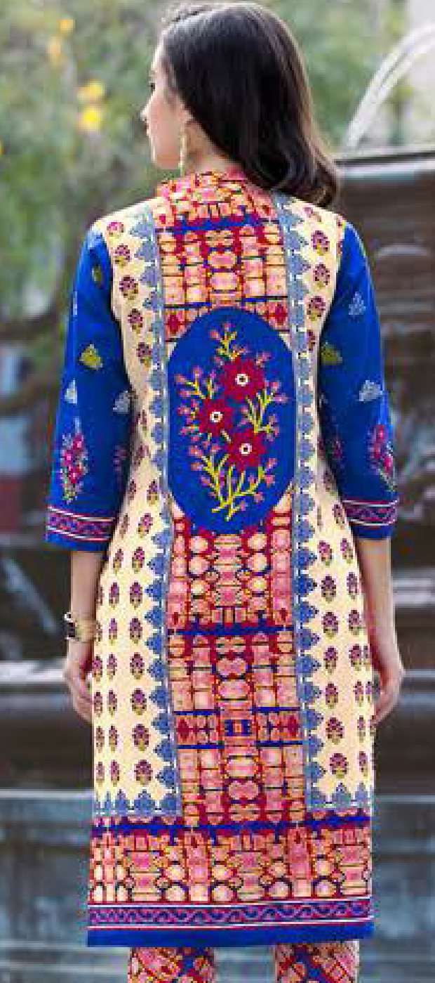 Cream-Blue Colored Casual Wear Printed Cotton Dress Material