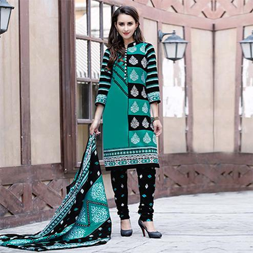 Turquoise-Black Colored Casual Wear Printed Cotton Dress Material