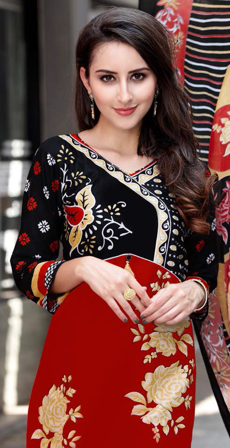Maroon-Black Colored Casual Wear Printed Cotton Dress Material