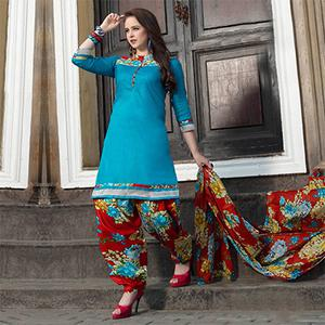 Sky Blue-Red Casual Wear Printed Dress Material