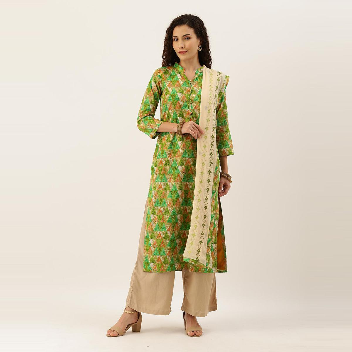 Kvsfab - Women Green Casual Wear Printed Unstitched Dress Material