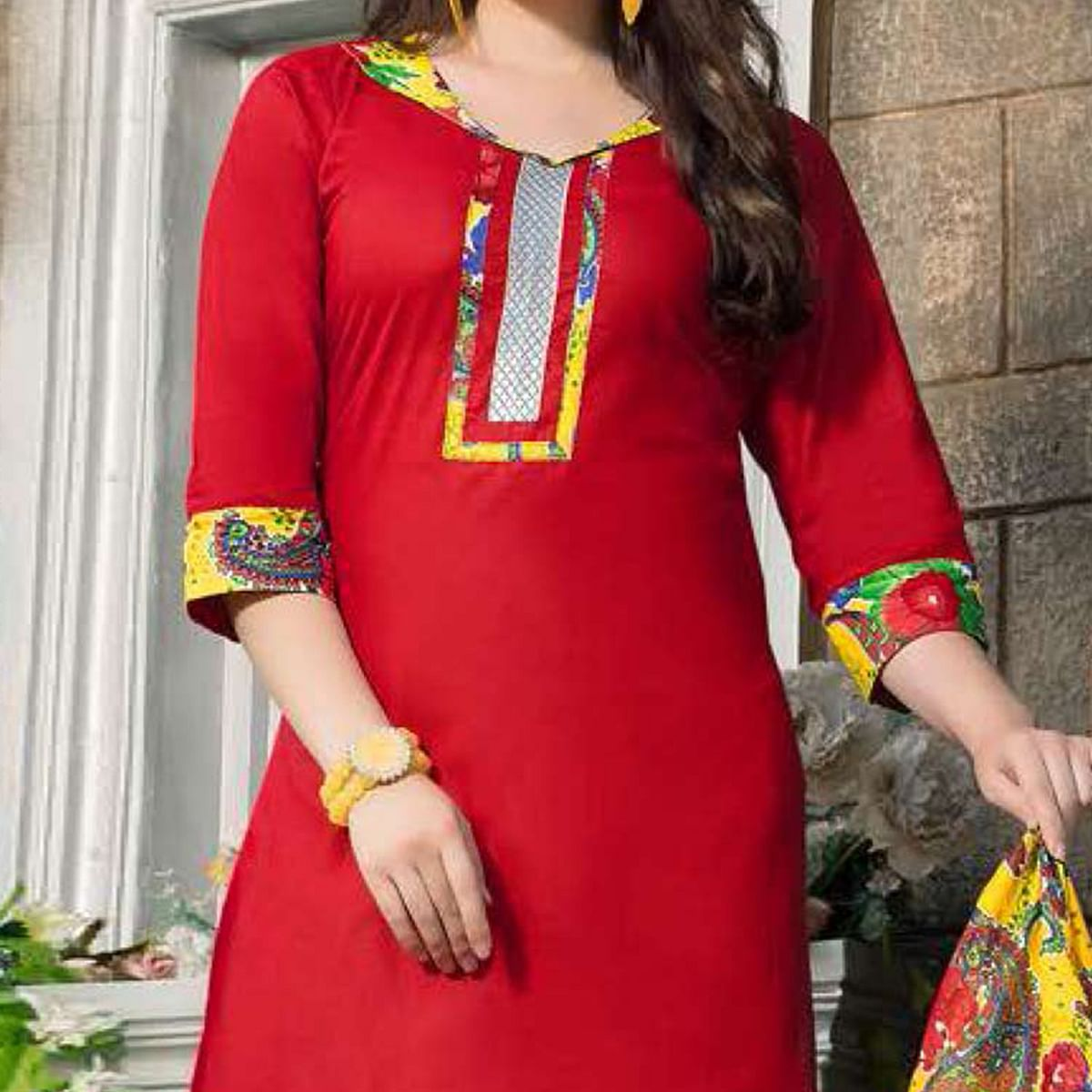 Red-Yellow Casual Wear Printed Dress Material