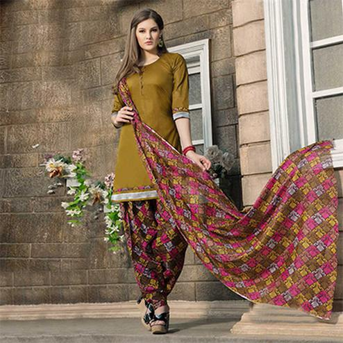 Mehendi Green-Brown Casual Wear Printed Dress Material
