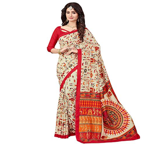 Beige - Red Casual Wear Saree