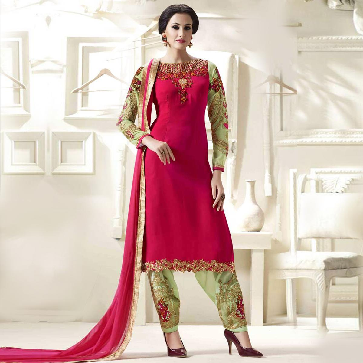 Pink - Green Embroidered Boat Neck Salwar Suit