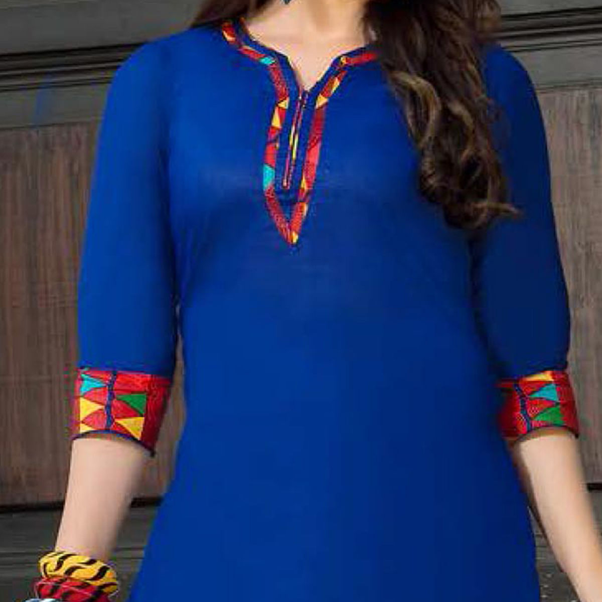 Blue-Red Casual Wear Printed Dress Material