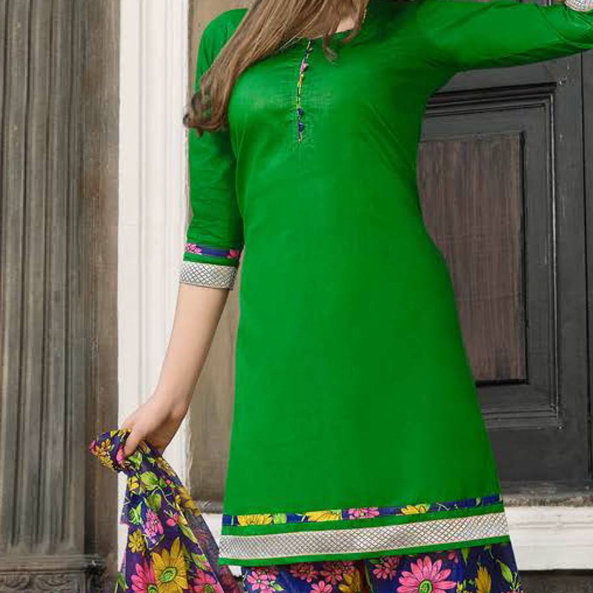 Green-Blue Casual Wear Printed Dress Material