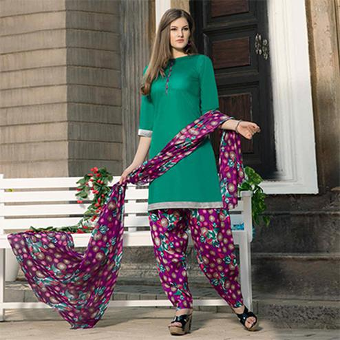 Rama Green-Purple Casual Wear Printed Dress Material