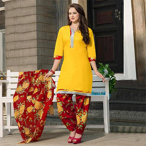 Yellow-Red Casual Wear Printed Dress Material