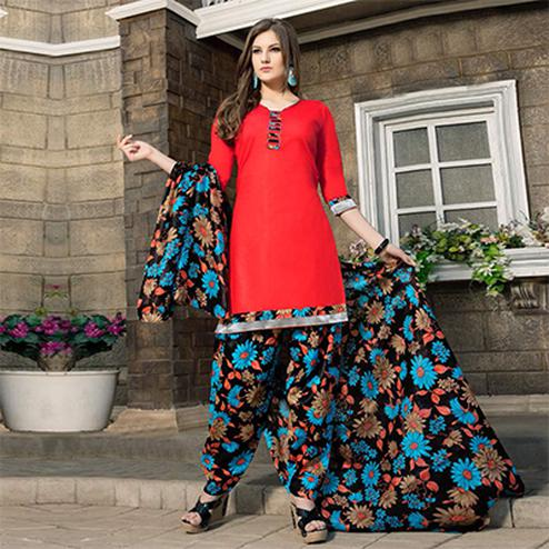 Red-Black Casual Wear Printed Dress Material