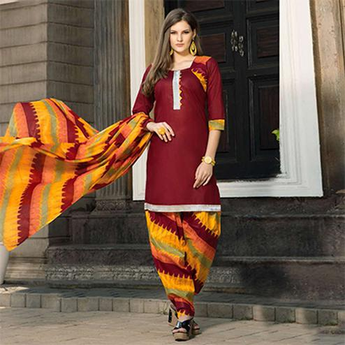 Maroon-Yellow Casual Wear Printed Dress Material