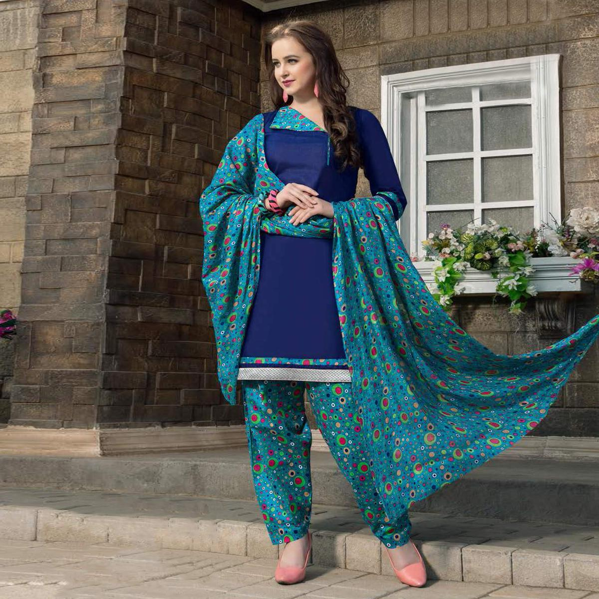 Blue Casual Wear Printed Dress Material