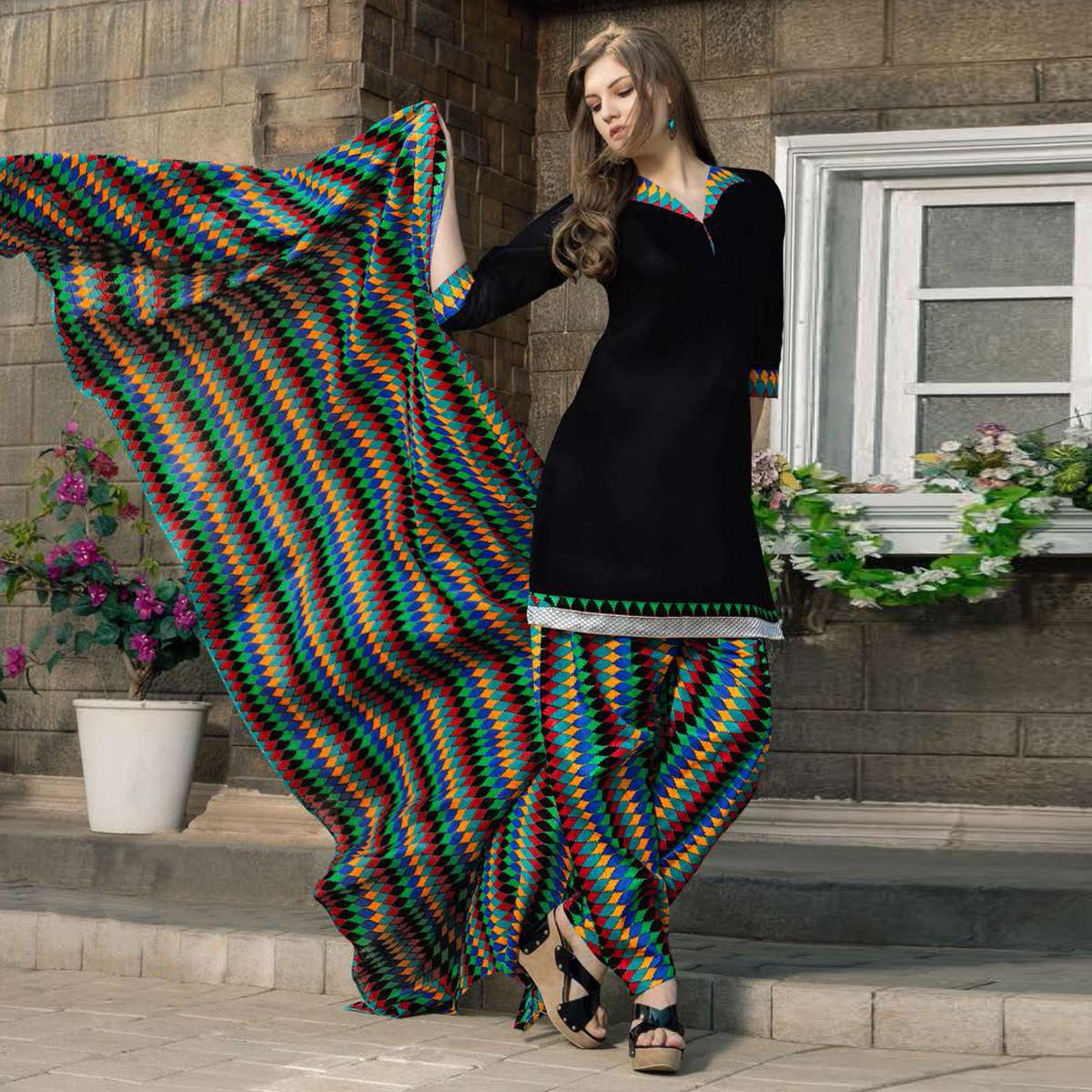 Black Casual Wear Printed Dress Material