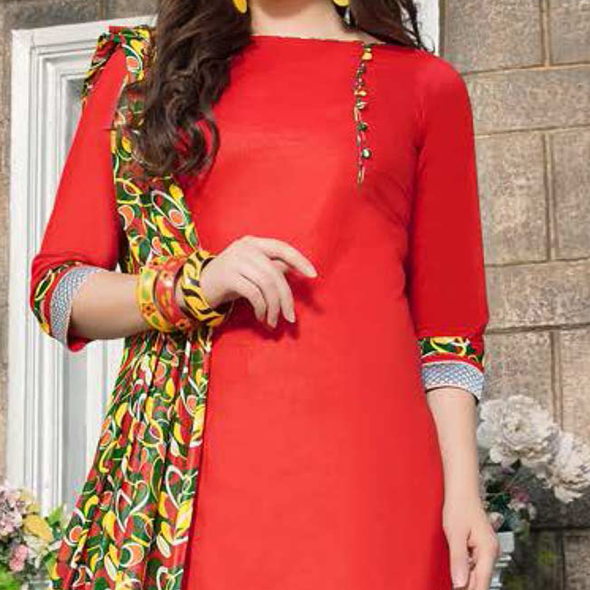 Red-Green Casual Wear Printed Dress Material
