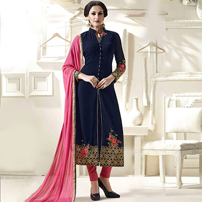 Navy Blue Slit Cut Designer Suit