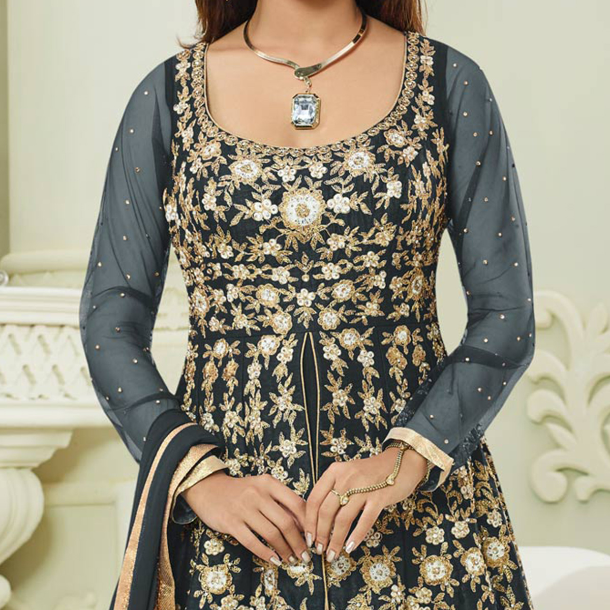 Charming Grey Colored Designer Embroidered Mulberry Silk Anarkali Suit