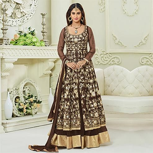 Ravishing Brown Colored Designer Embroidered Mulberry Silk Anarkali Suit
