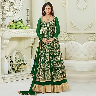 Delightful Green Colored Designer Embroidered Mulberry Silk Anarkali Suit