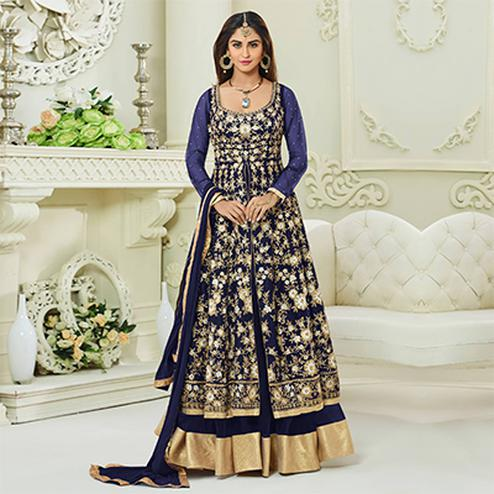 Stunning Blue Colored Designer Embroidered Mulberry Silk Anarkali Suit