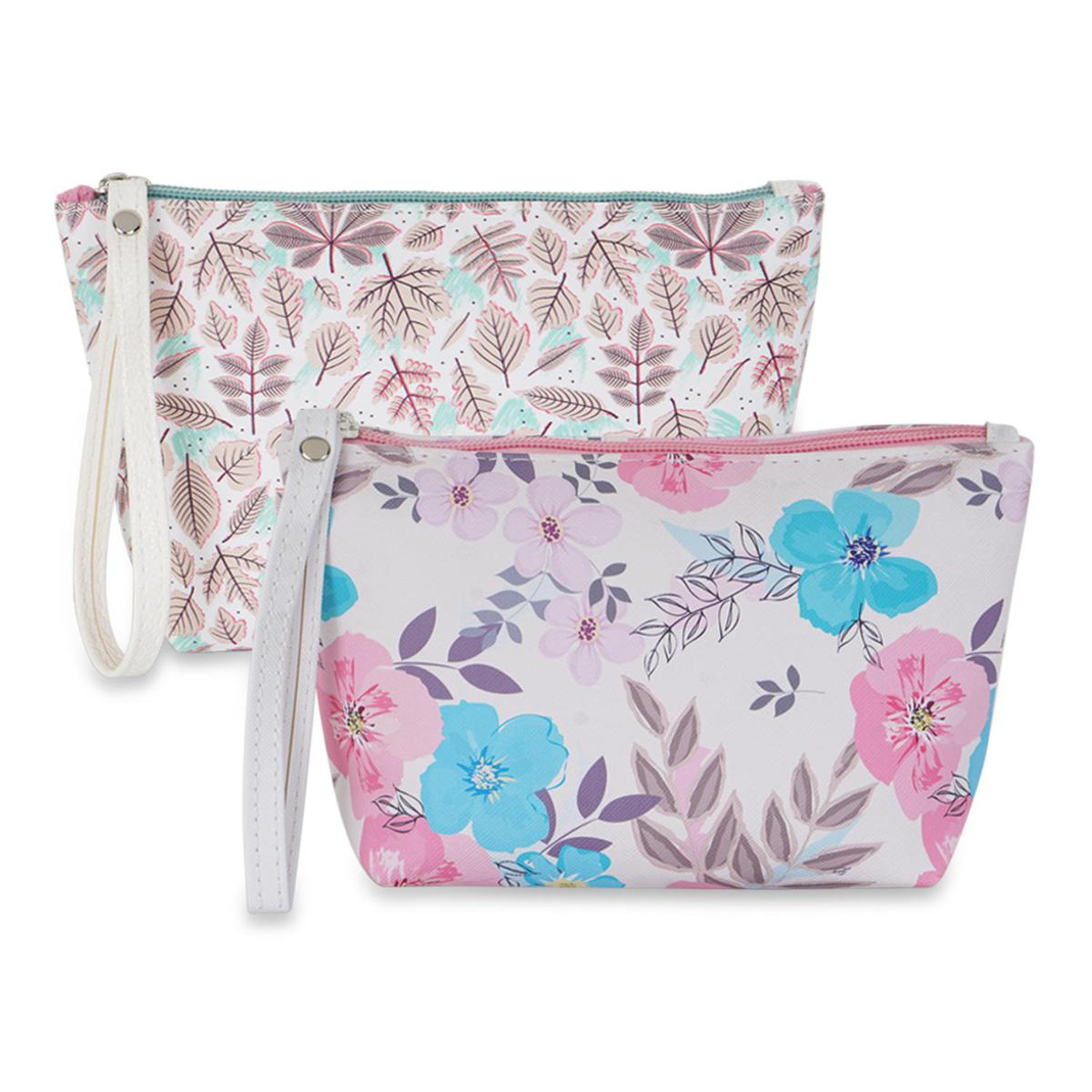 NFI essentials - PU Floral Print Makeup Pouch for Women, Stylish Pouches & Travel Organiser, Cosmetic Pouch, Toiletry Make up Bag for Girls Pack of 2