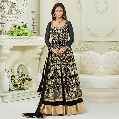 Blooming Black Colored Designer Embroidered Mulberry Silk Anarkali Suit