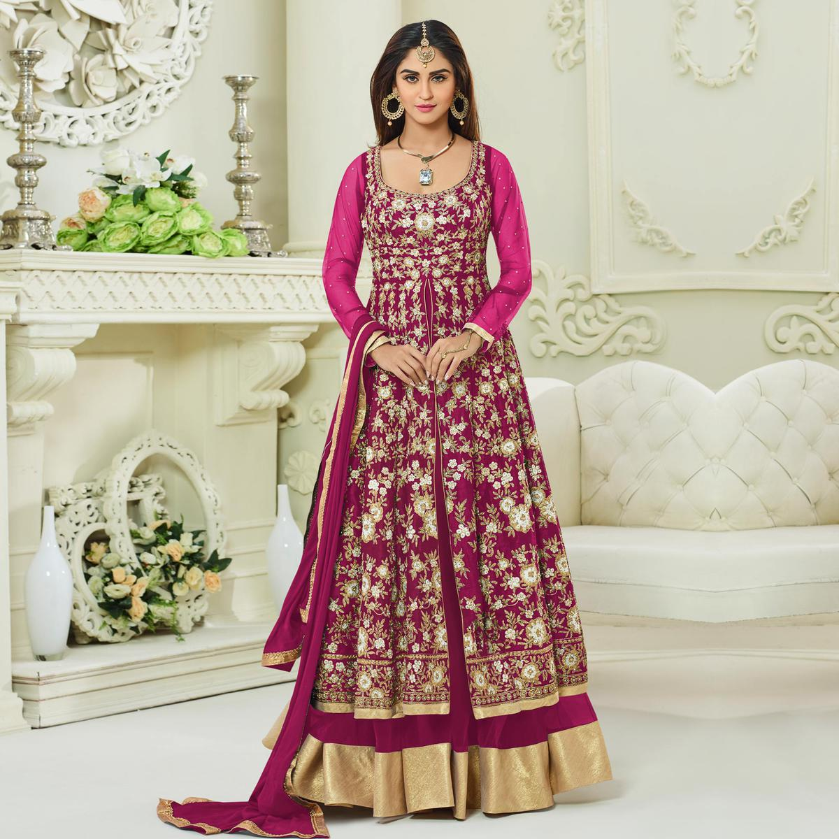 Marvellous Deep Pink Colored Designer Embroidered Mulberry Silk Anarkali Suit