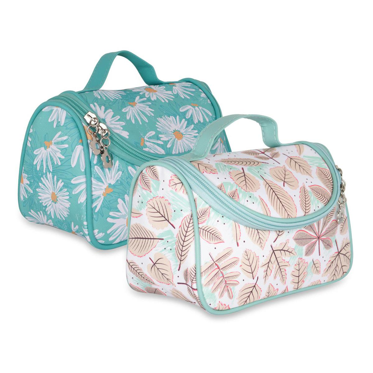 NFI essentials - Floral Print Cosmetics Pouch Makeup Pouch  Vanity Case Jewellery Pouch Stationery Pencil Case  Travel Organiser Travel Pouch Bridal Gift Pack of 2