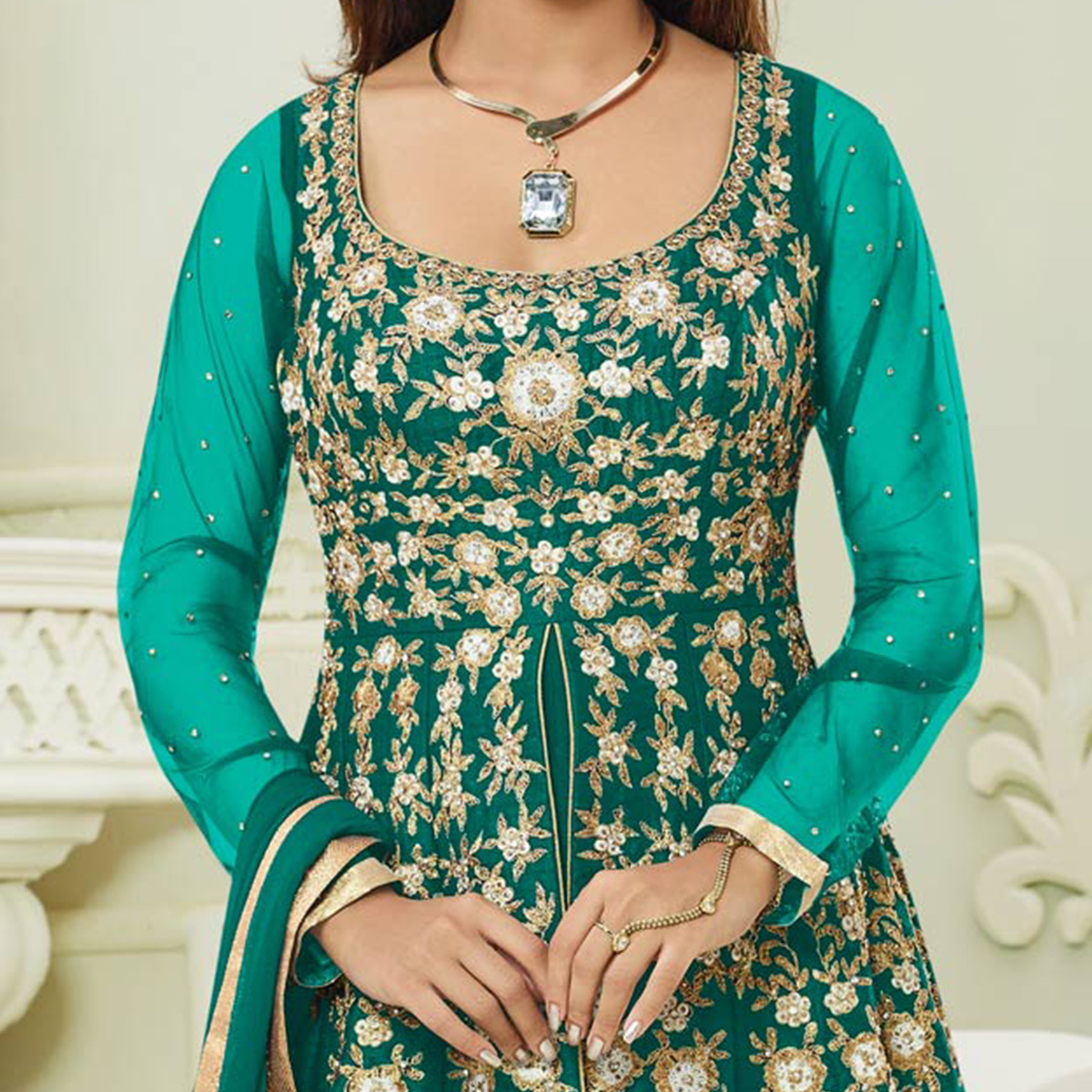 Mesmerising Rama Green Colored Designer Embroidered Mulberry Silk Anarkali Suit