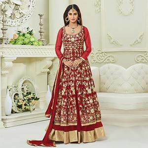 Eye-catching Red Colored Designer Embroidered Mulberry Silk Anarkali Suit