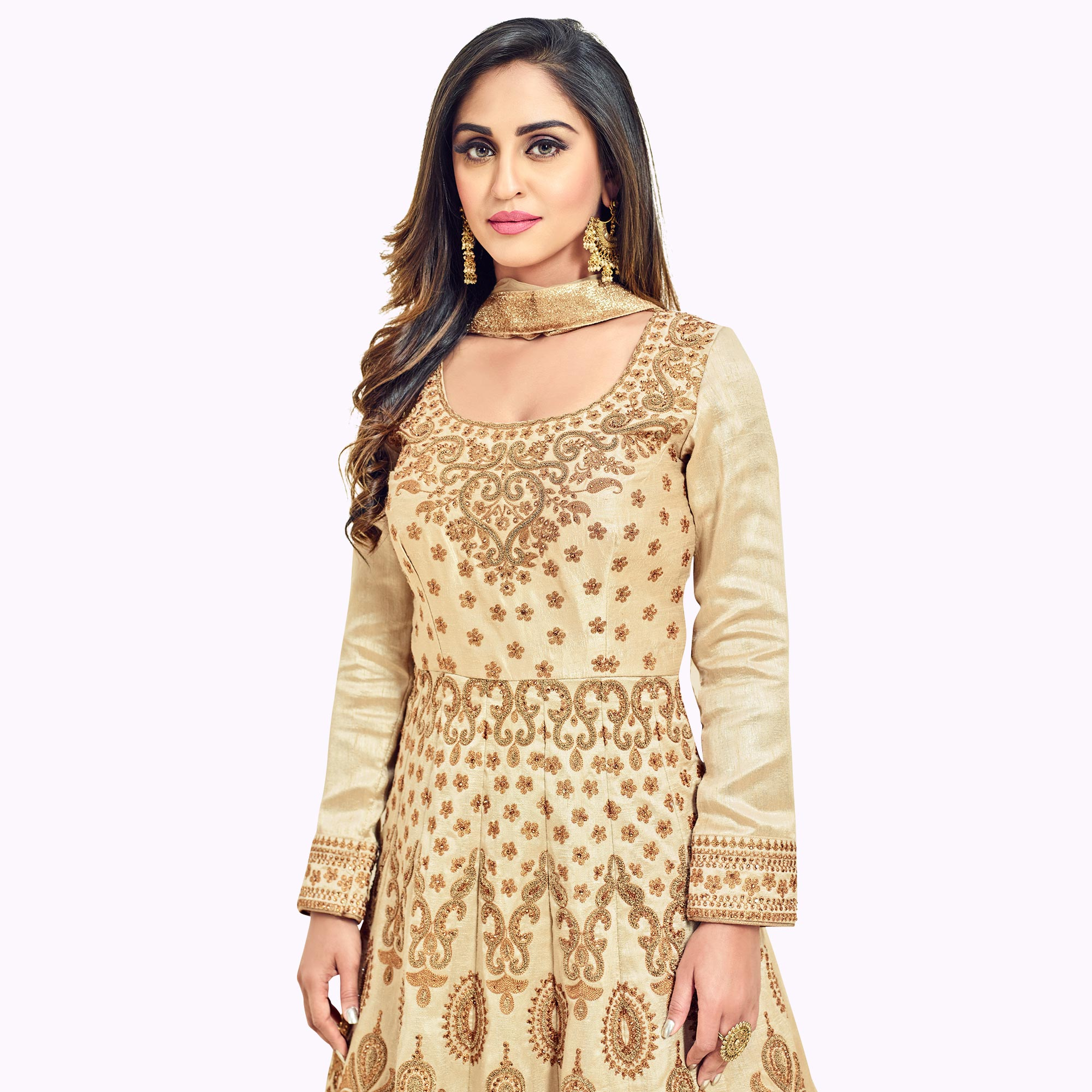 Mesmerising Beige Colored Heavy Embroidered Partywear Banglori Silk Anarkali Suit