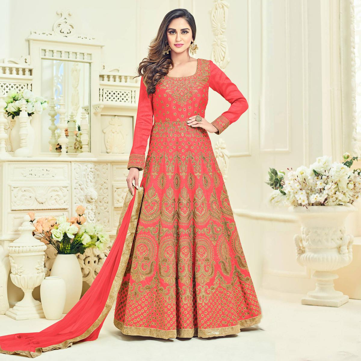 Perfect Peach Colored Heavy Embroidered Partywear Banglori Silk Anarkali Suit